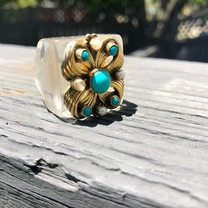Jewelry - 60's Lucite, pearl and turquoise cocktail ring
